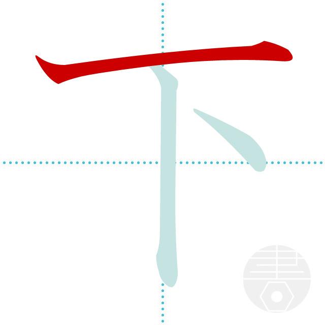 下」の書き順(画数)|正しい漢字の書き方【かくなび】