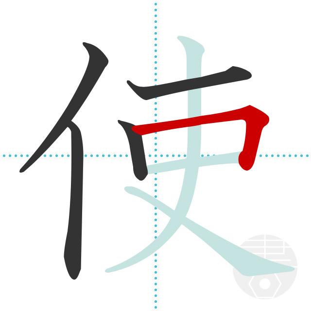 使」の書き順(画数)|正しい漢字の書き方【かくなび】