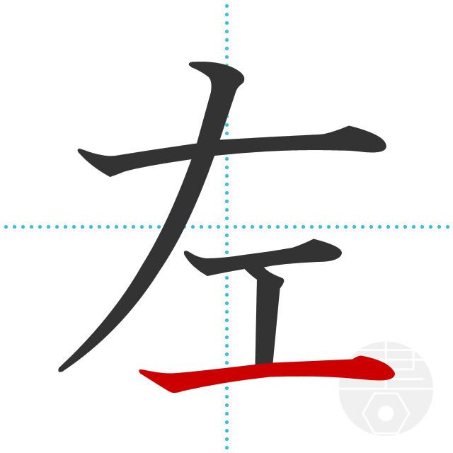 左」の書き順(画数)|正しい漢字の書き方【かくなび】