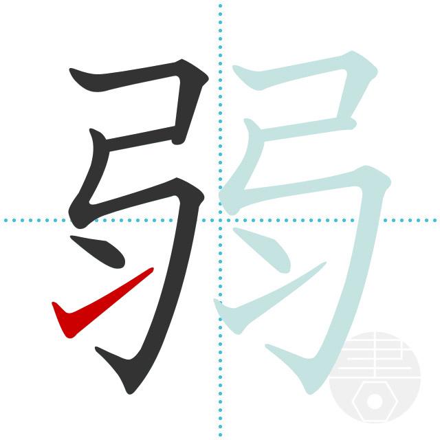 弱」の書き順(画数)|正しい漢字の書き方【かくなび】