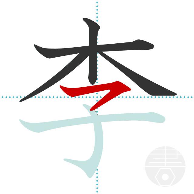 李」の書き順(画数) 正しい漢字の書き方【かくなび】