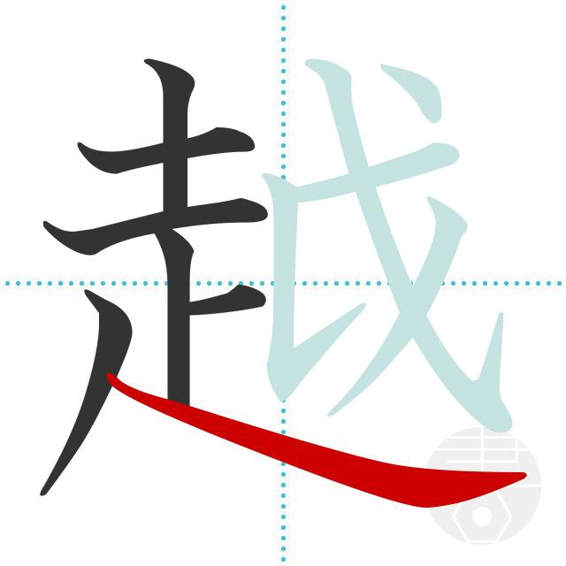 越」の書き順(画数)|正しい漢字の書き方【かくなび】